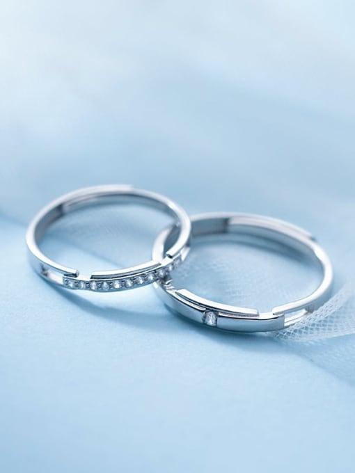 Rosh 925 Sterling Silver Rhinestone Geometric Minimalist Couple Ring 3