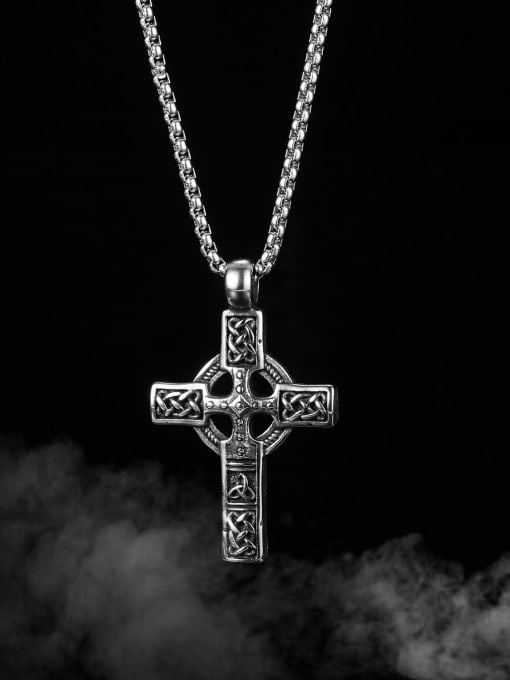 Open Sky Titanium Steel Vintage Cross Pendant 2