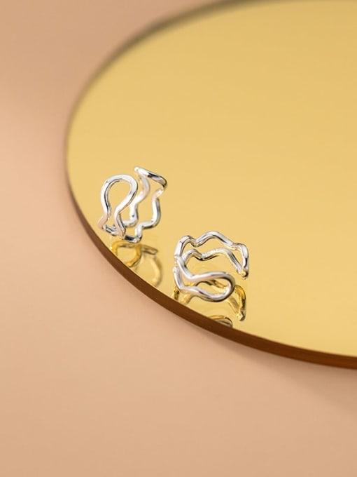 Rosh 925 Sterling Silver Hollow Irregular Minimalist Clip Earring 0