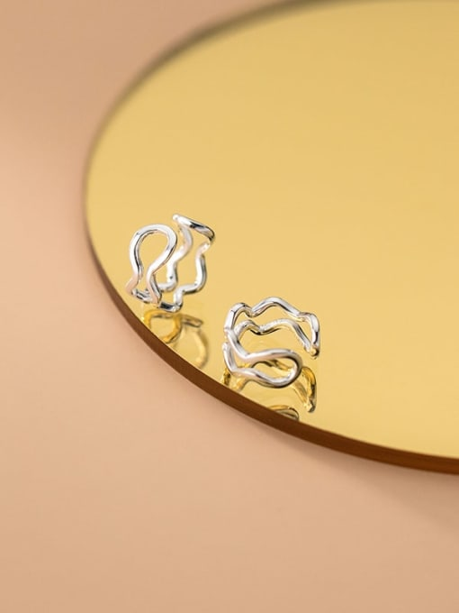 Rosh 925 Sterling Silver Hollow Irregular Minimalist Clip Earring