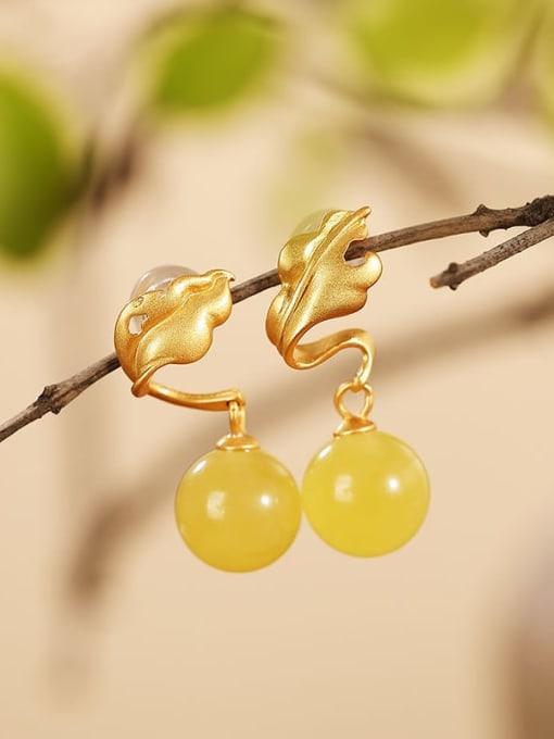 DEER 925 Sterling Silver Amber Leaf Vintage Drop Earring 0