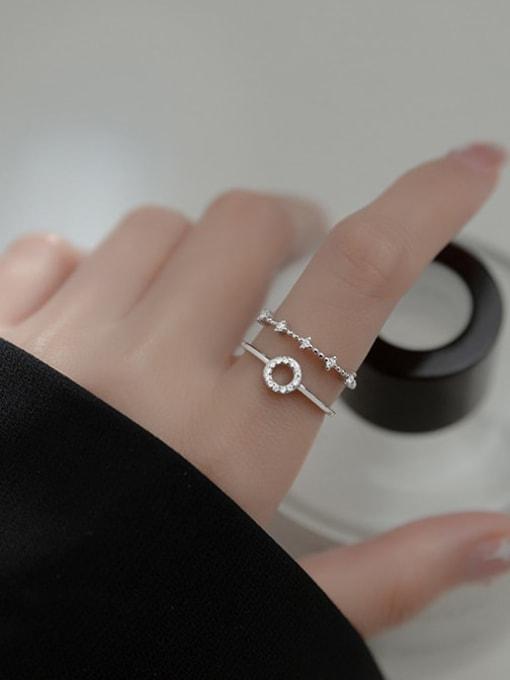 Rosh 925 Sterling Silver Rhinestone Geometric Minimalist Stackable Ring 1
