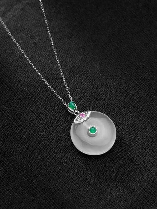 Rosh 925 Sterling Silver Opal Geometric Minimalist Necklace 3