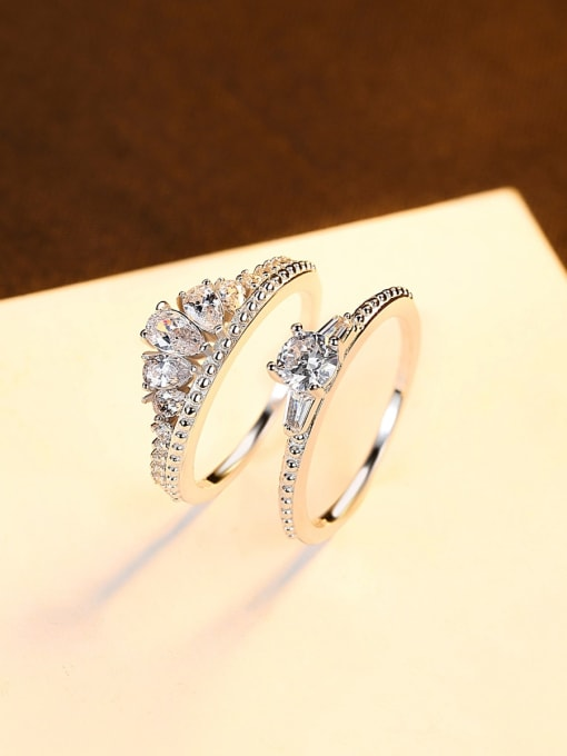 CCUI 925 Sterling Silver Cubic Zirconia Crown Dainty Band Ring 2