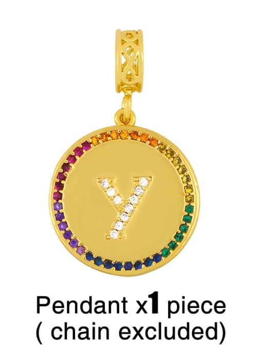 Y (excluding chain) Copper Cubic Zirconia Rround Letter Minimalist Pendant