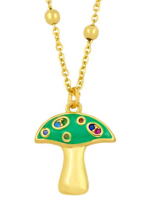 green Brass Cubic Zirconia Enamel Mushroom Minimalist Necklace