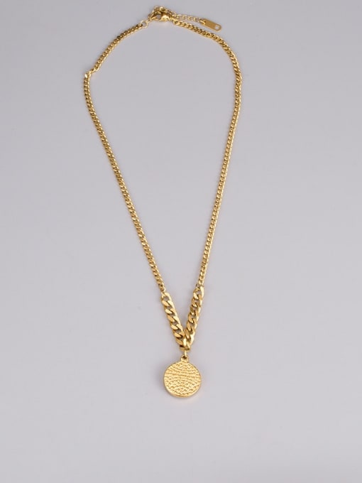 A TEEM Titanium Steel Round Minimalist Necklace