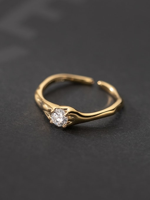 gold 925 Sterling Silver Cubic Zirconia Geometric Vintage Band Ring