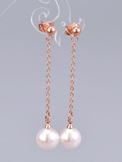A TEEM Titanium Imitation Pearl Tassel Minimalist Drop Earring 1