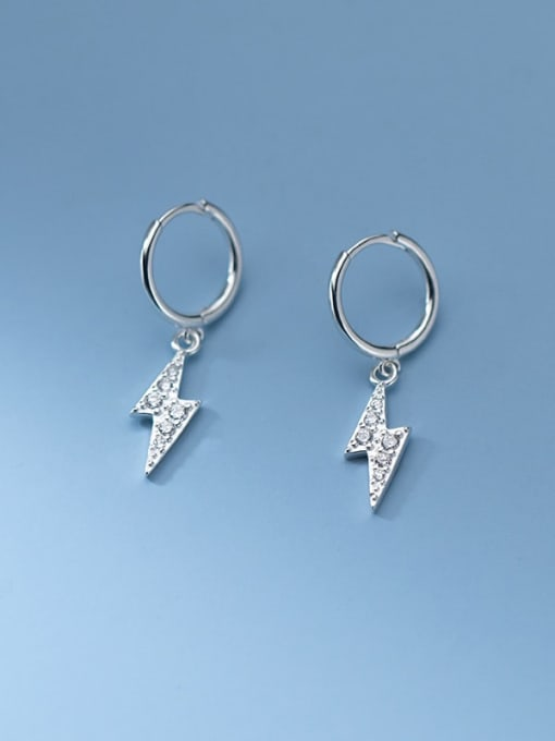 Rosh 925 Sterling Silver Cubic Zirconia Irregular Minimalist Huggie Earring 2