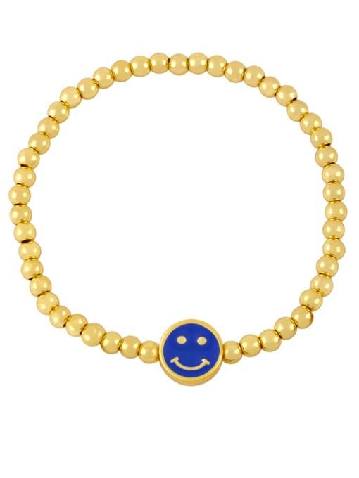 E (dark blue) Brass Enamel Smiley Vintage Beaded Bracelet