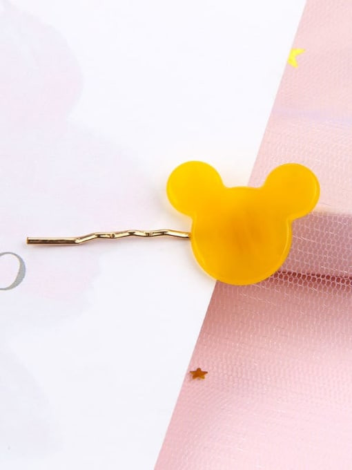 Cartoon yellow Alloy Cellulose Acetate Minimalist Heart Hair Pin