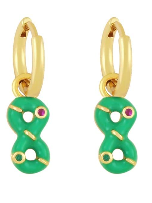 green Brass Rhinestone Enamel Number 8 Trend Huggie Earring