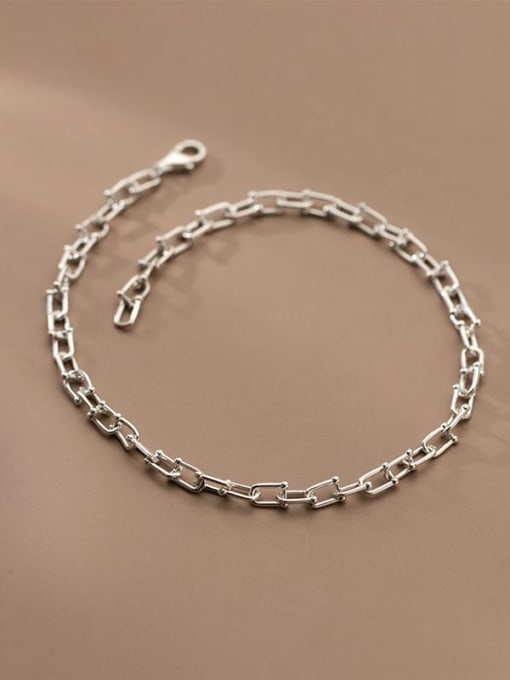Rosh 925 Sterling Silver  Minimalist Hollow Chain  Anklet 1