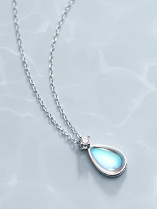 Rosh 925 Sterling Silver Glass Stone Water Drop Minimalist Necklace