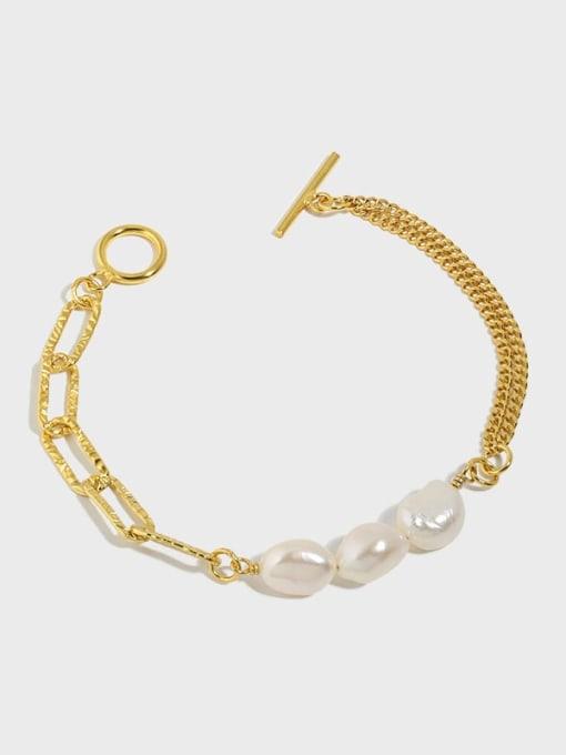 DAKA 925 Sterling Silver Freshwater Pearl Geometric Minimalist Strand Bracelet
