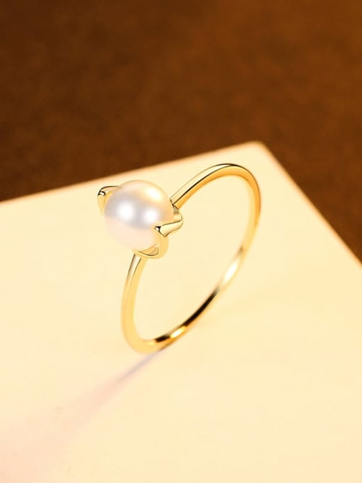 8# 925 Sterling Silver Imitation Pearl Irregular Minimalist Band Ring