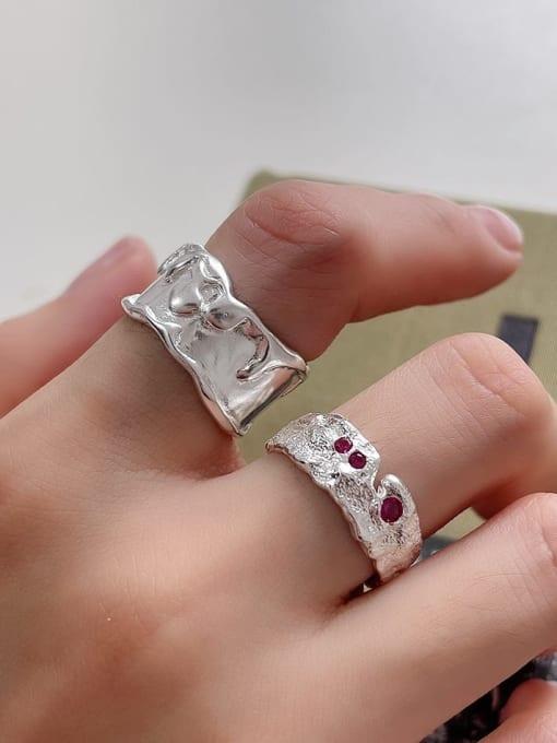 Boomer Cat 925 Sterling Silver Cubic Zirconia Irregular Minimalist Band Ring 1