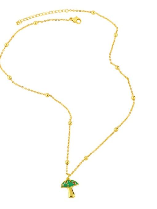 CC Brass Cubic Zirconia Enamel Mushroom Minimalist Necklace 3