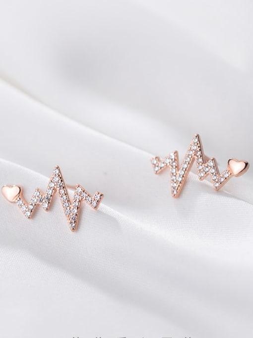 Rosh 925 Sterling Silver Rhinestone Heart Dainty Stud Earring 1