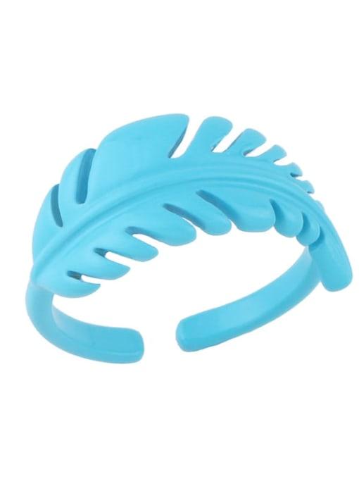 blue Brass Enamel Tree  Leaf Vintage Band Ring