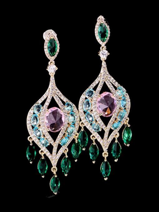Pink + green zirconium Brass Cubic Zirconia Flower Luxury Drop Earring