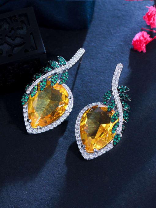 orange Brass Cubic Zirconia Leaf Luxury Stud Earring
