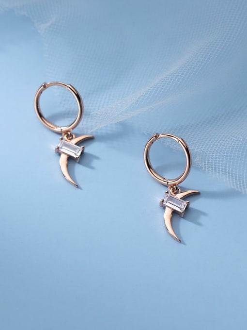 Rosh 925 Sterling Silver Cubic Zirconia Moon Minimalist Huggie Earring 1