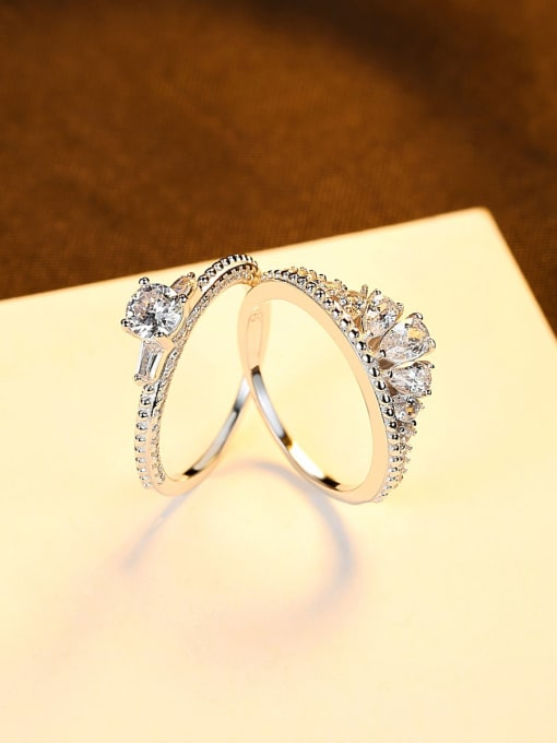CCUI 925 Sterling Silver Cubic Zirconia Crown Dainty Band Ring 3