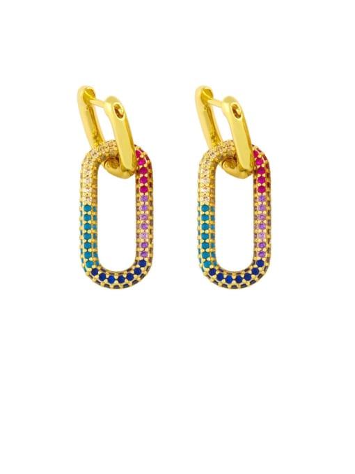 ellipse Brass Cubic Zirconia Heart Vintage Huggie Earring