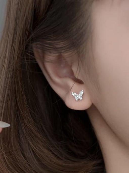 Rosh 925 Sterling Silver Cubic Zirconia Butterfly Dainty Clip Earring 1