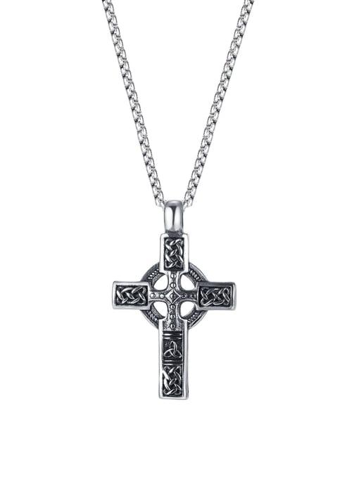 Open Sky Titanium Steel Vintage Cross Pendant 0