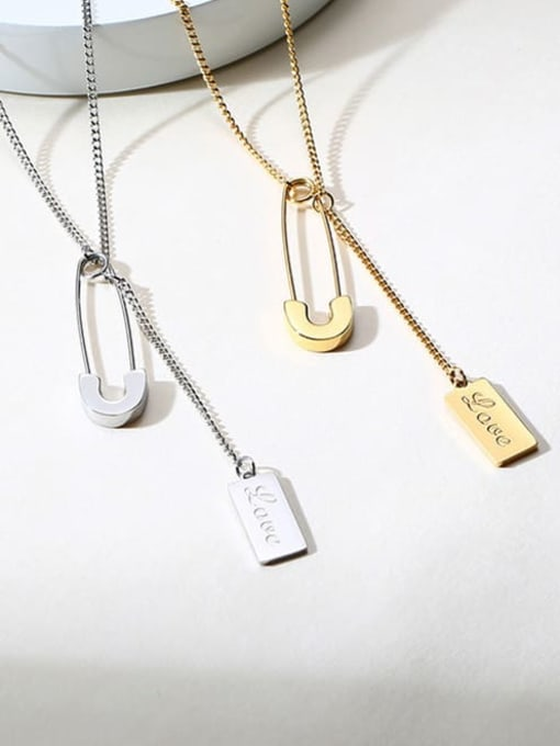 CONG Stainless steel Geometric  Tassel Minimalist Lariat Necklace 2