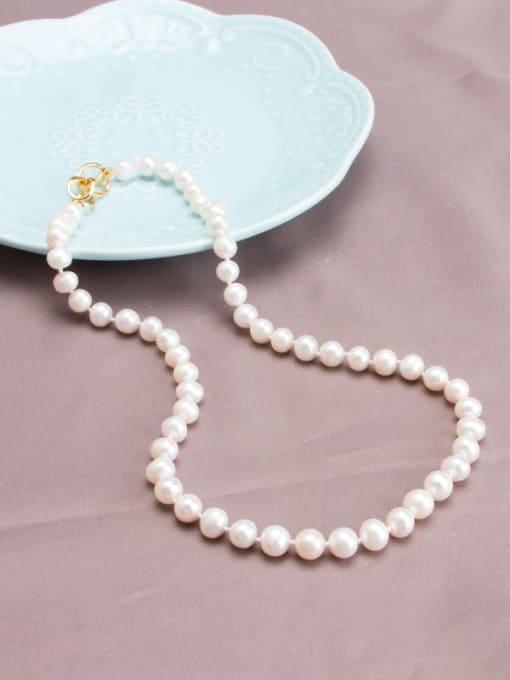 RAIN Brass Freshwater Pearl Round Minimalist Long Strand Necklace