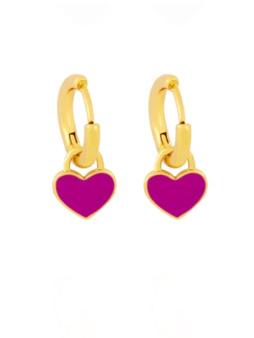 purple Brass Enamel Heart Minimalist Huggie Earring