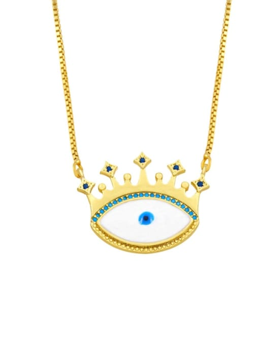 A Brass Cubic Zirconia Evil Eye Hip Hop Necklace