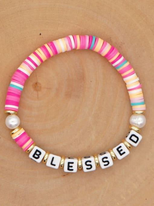 QT B200146B Stainless steel Freshwater Pearl Multi Color Polymer Clay Letter Bohemia Handmade Weave Bracelet
