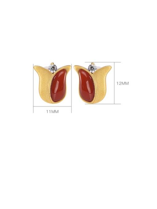 DEER 925 Sterling Silver Carnelian Flower Vintage Stud Earring 3