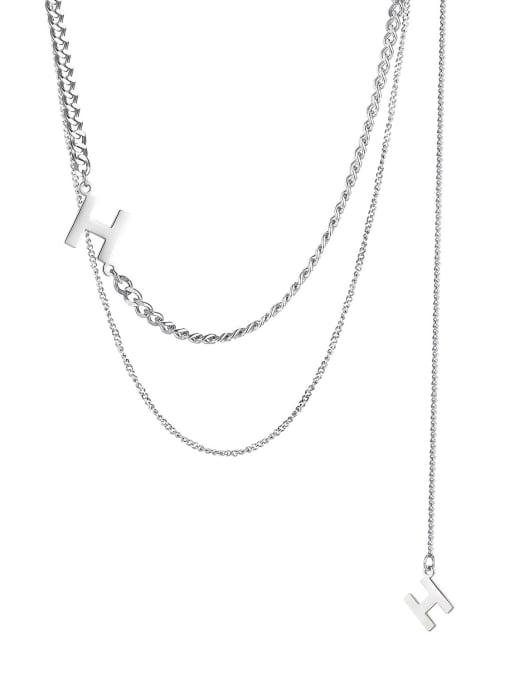 1859 Steel Necklace Titanium Steel Letter Hip Hop Multi Strand Necklace