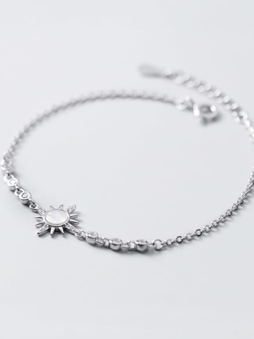 Rosh 925 Sterling Silver Shell Flower Minimalist Link Bracelet 3