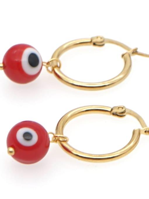 C E200004A Stainless steel  MGB Bead Multi Color Evil Eye Bohemia Huggie Earring