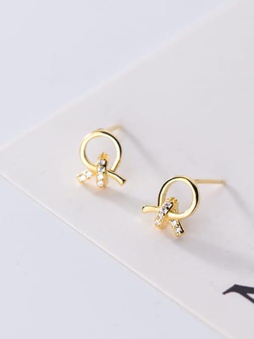 Rosh 925 Sterling Silver Rhinestone Bowknot Minimalist Stud Earring 2