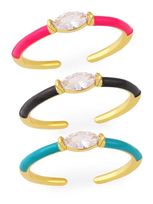 CC Brass Enamel Cubic Zirconia Geometric Minimalist Band Ring 0