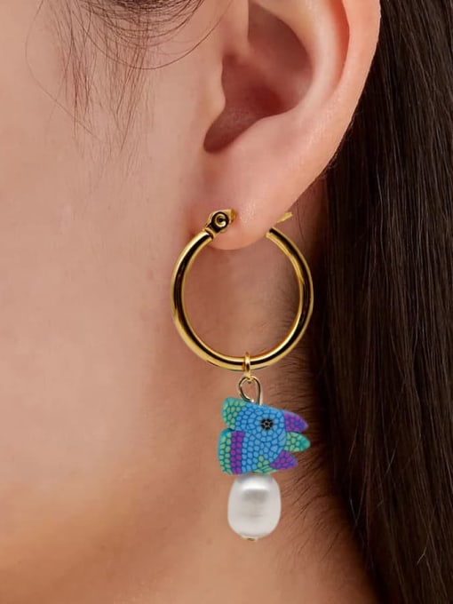 Roxi Stainless steel MGB Bead Multi Color Heart Bohemia Huggie Earring 1