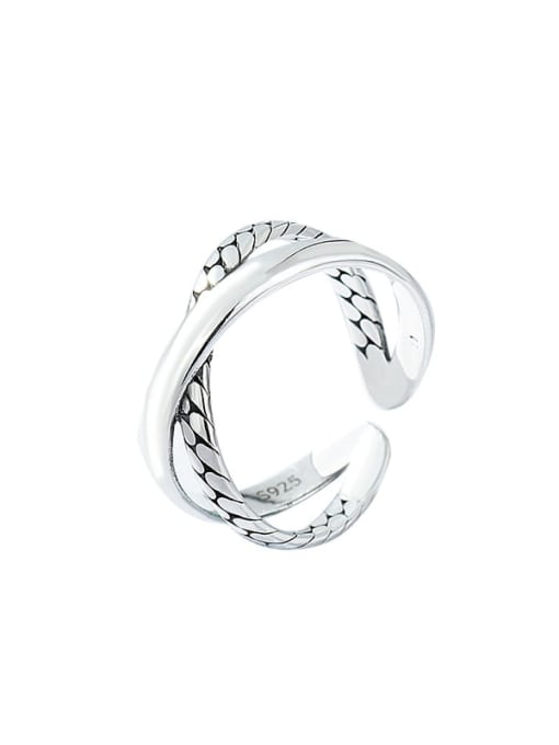 XBOX 925 Sterling Silver Twist Cross Vintage Band Ring