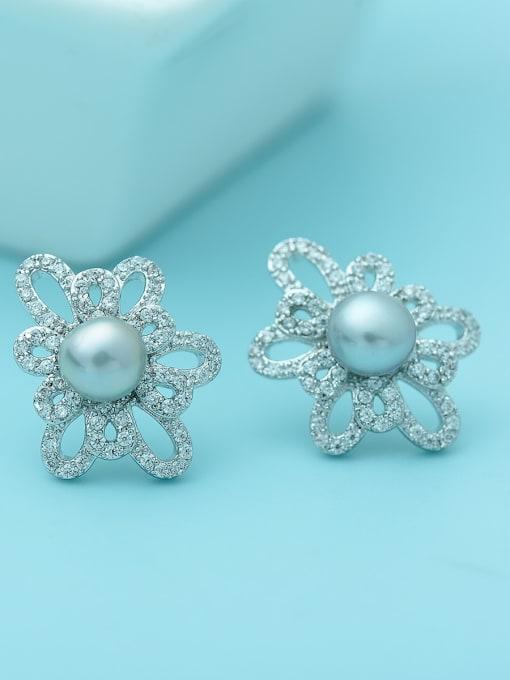 BLING SU Brass Cubic Zirconia Flower Luxury Stud Earring 2