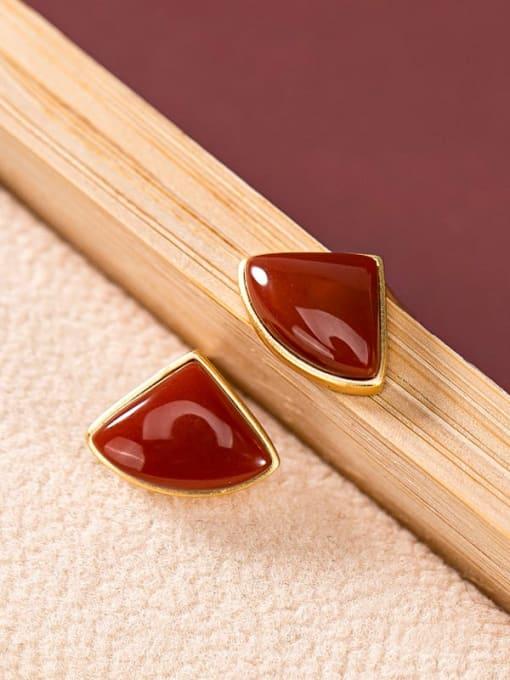 DEER 925 Sterling Silver Carnelian Triangle Minimalist Stud Earring 0