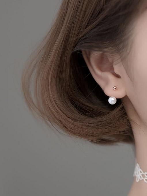 Rosh 925 Sterling Silver Imitation Pearl Irregular Minimalist Clip Earring 3