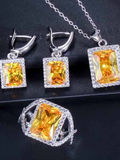 Yellow ring size 7 Brass Cubic Zirconia Luxury Geometric  Earring Ring and Necklace Set