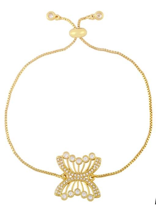 A Brass Cubic Zirconia Butterfly Hip Hop Adjustable Bracelet